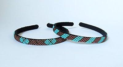 Serre-tête (fin) en perles Sud Africain Zoulou - Bronze et turquoise