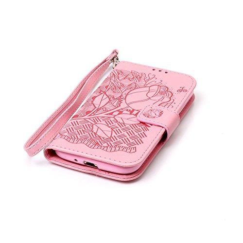Hülle für Samsung Galaxy S4, Tasche für Samsung Galaxy S4, Case Cover für Samsung Galaxy S4, ISAKEN Blume Schmetterling Muster Folio PU Leder Flip Cover Brieftasche Geldbörse Wallet Case Ledertasche H Rose Dessin Pink