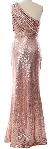 MACloth Women One Shoulder Sequin Long Prom Dress 2017 Formal Party Evening Gown Green