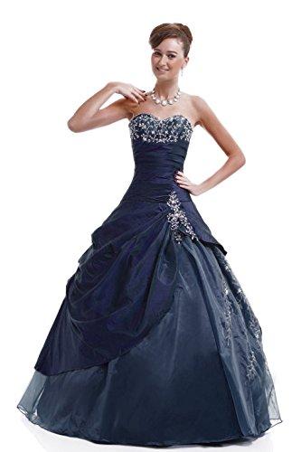 Kmformals Damen Langer Taft Prom BallKleid Quinceanera Kleider Größe 38 Dunkel Blau (Gefüttert Abendkleid Voll Perlen)