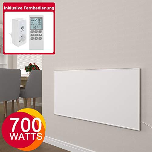 Infrarotheizung mit Thermostat 300, 450, 580, 700, 900, 1100 Watt Weiß Carbon Crystal Paneelheizung - Überhitzungsschutz Design Infrarot Wandheizung Infrarot Heizung (700W + Thermostat)