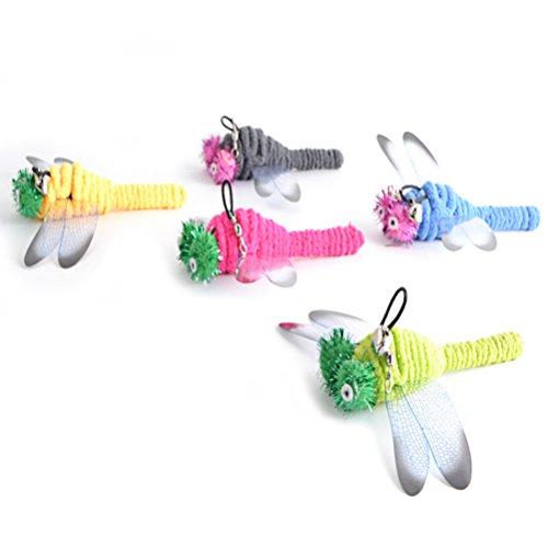 UEETEK 5 Stücke Katzenangel Ersatzfedern Libellen Katzenspielzeug