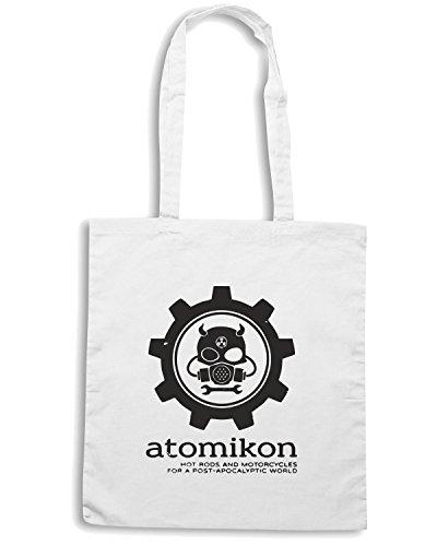 T-Shirtshock - Borsa Shopping WC0195 ATOMIKON Hot Rods and Motorcycles 2 Bianco