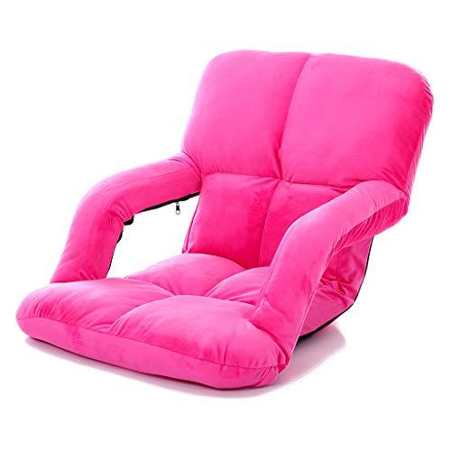 GHM Campingstuhl Boden Stuhl 5 Dateien Einstellbare Faltbare Bay Windo Stühle Einzel Sofa Freizeit Recliners Last 100 kg (Farbe : Pink) -