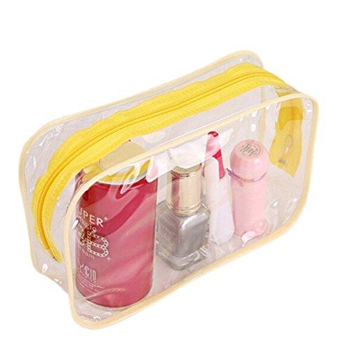 En plastique transparent Fermeture Éclair Voyage Maquillage trousse de toilette sac Jaune jaune Medium Size: (LxWxH): 18x6x12cm