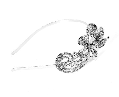 Narrow Silver Bridal Alice band Crystal Diamante Side Small Flower
