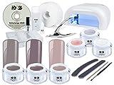 Nagelstudio STARTERSET DVD PREMIUM + NUDE FARB GEL für Gelnägel - UV Lampe weiß + UV-Gel + Farbgel MADE IN GERMANY + Tips + Feilen + Pinsel + Schulungs-DVD + Zubehör - Gel Nägel SET BESTSELLER