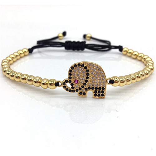 YCWDCS Armband Mode Armband Frauen Elefant 4 Mm Perlen Geflochtene Makramee Charme Armband Armreif Für FrauenSchmuck GIF T