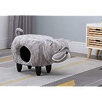 Hallowood Animal Elephant Foot Stool for Kids, Ottoman/Seat with Cat Hole, Wood, Foam, Linen, ANI DOG1