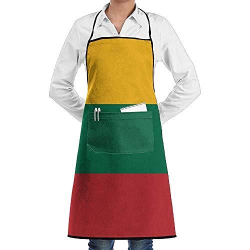 UQ Galaxy Grillschürze,Flagge Von Litauen Schürze Spitze Unisex Chef Einstellbare Lange Voll Schwarz Kochen Küchenschürzen Lätzchen Mit Taschen Für Restaurant Backen BBQ