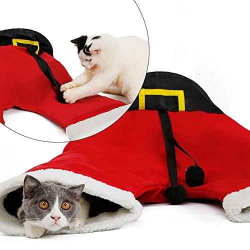 Faltbare 3-Wege-Katzentunnel Spielzeug Santa Claus Hose, für drinnen und draußen ()
