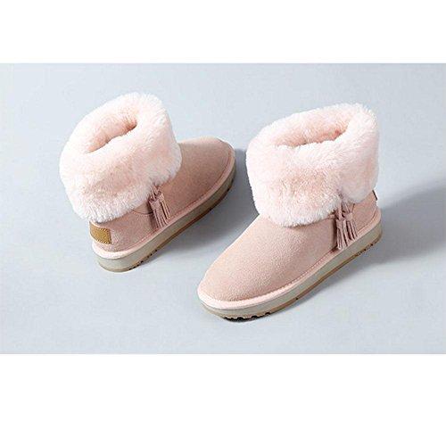 Stivaletti da donna invernali Stivali da neve caldi e piatti Caviglia casual 42
