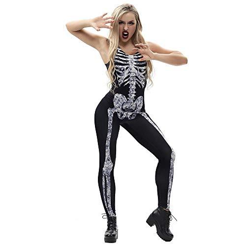 Doublehero Damen Skelett Kostüm Scary Halloween 3D Schädel -