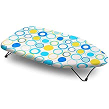 Bonita IB01-40IC Mini table top ironing board, 100% cotton fabric with Polyester fibre felt Cold Rolled Steel (MS), Epoxy powder coated Thick Padding, indian circle, 73 x 33.02 x 12 cm