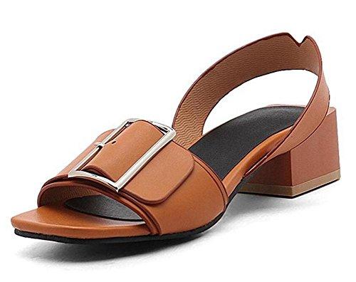 SHINIK Frauen Peep Toe Pumps Slingback Sandalen Fashion Square Wölbung Flat Heel Persönlichkeit Sandalen 40-45 Brown