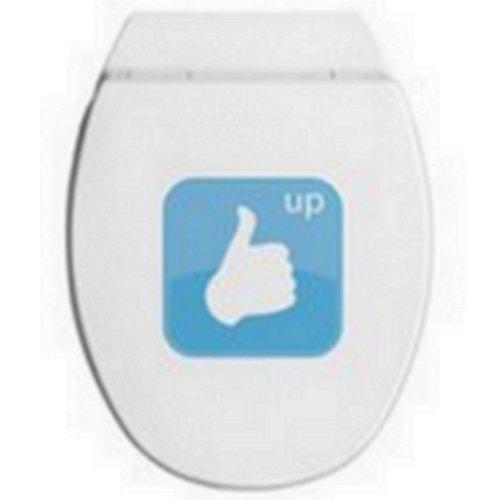Allibert - 217477 - WC-Sitz Aktual - Appli Daumen hoch - Weiß / Blau - Holz - Easy Click System und Stop-Bakterien - 538