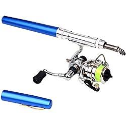 Leezo Mini caña de Pescar de aleación de Aluminio telescópica con Forma de bolígrafo de caña de Pescar Plegable con Rueda de Carrete de Metal, Azul