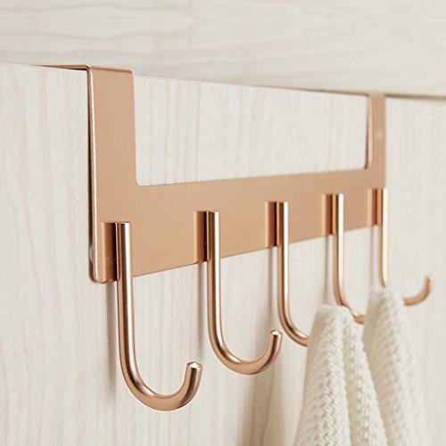 YOTA HOME Garderobe Aufhänger Haken Kreative Wand Nordic Raum Aluminium Badezimmer Küche Tür Hängen Haken Kleiderablage (Farbe : Gold)