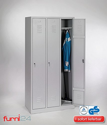 Garderobenschrank, Schließfach, Spind, Umkleideschrank, Kleiderschrank Abteilbreite 30 cm 3-türig