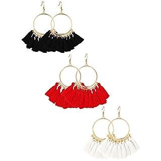 Quaste Hoop Ohrringe Fächerförmigen Tropfen Ohrringe Baumeln Eardrop für Damen Mädchen Party Böhmen Kleid Zubehör, 3 Paar (Set 4)