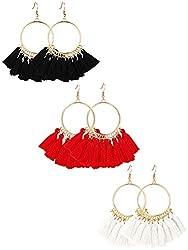 Tassel Hoop Earrings Fan-shaped Drop Earrings Dangle Eardrop for Women Girls Party Bohemia Dress Accessory, 3 Pairs (black, red, beige)