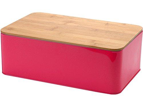 Boîte à pain en métal avec couvercle en bambou (Planche à découper) 33 x 21 x 12 cm Rosa