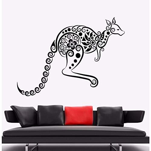 Pbldb 57X42 Cm Wandaufkleber Känguru Tier Vinyl Wandtattoo Australien Ornament Wandkunst Wandhaupt Wohnzimmer Dekor Känguru Vinyl ()