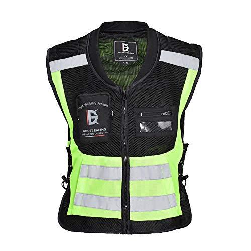 Juman634 Reflektierende Weste Sicherheit Gehen Laufen Radfahren Weste Ultraleicht Komfortabel Motorrad Reflektierende Streifen Ärmellose Jacke Fluoreszierend Grün Groß