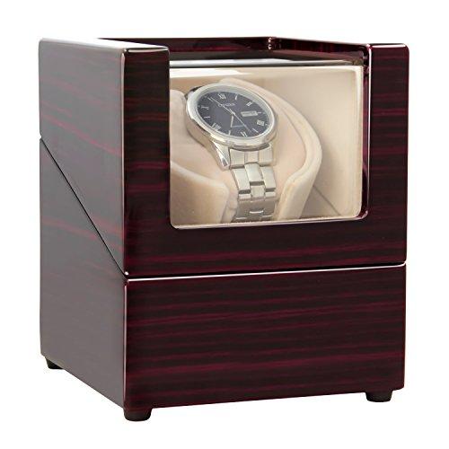 CHIYODA Automatische Uhrenbeweger 1 Uhren Drehende Hölzerne Selbstaufziehende Uhrenbeweger für Automatische Uhren Super Leiser Motor - 12 Modus