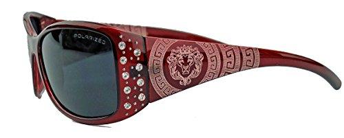 GIANNI MILANO polarisierte Damen Sonnenbrille Strass Glitzersteine Designer Look KP34 (Merlot)