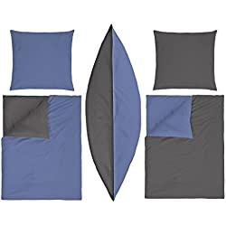 badtex24 2/4 TLG Bettwäsche Bettgarnitur Bettbezug Baumwolle Uni Wende Blau 135 x 200 Blau - Anthrazit 135cm x 200cm 4-TLG