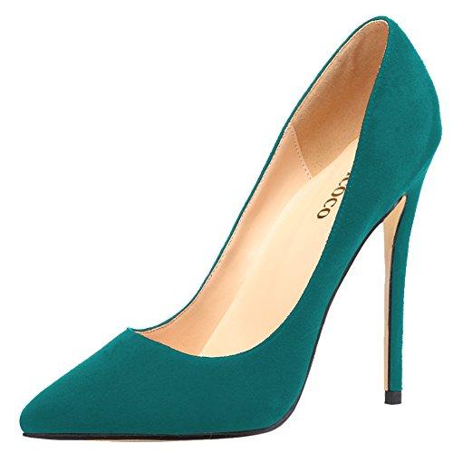 Dedos Veludo Bombas Grande A Escuro De Para Apontados De Um Estilete Sapatos Monicoco Verde Tamanho Senhoras Casamento Festa xZ4qwSSYI