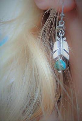 Plume élégante avec turquoise et décorée RONDELL boucles d'oreilles uniques en turquoise sur des crochets faits par soi-même