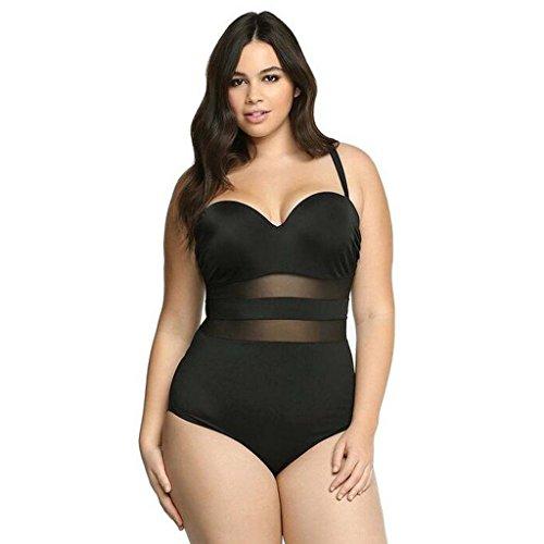 GWELL Damen Mesh Hollow Plus Size Push Up Einteilige Badeanzug Bademode Badebekleidung schwarz XL -
