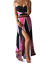 e62e79d1edbd3 BoBoLily Vestiti Lunghi Donna Eleganti da Cerimonia Estivi Bandeau Abito da  Sera Fiore Stampato con Spacco Vestito…