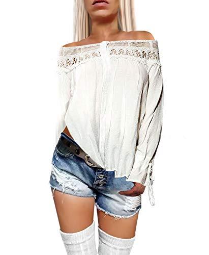 Damen Langarm Bluse weit geschnitten mit Knopfleiste Schulterfrei mit weitem Rüschen Kragen in weiß, Größe:M/L, - Sexy Girl Piraten Kostüm