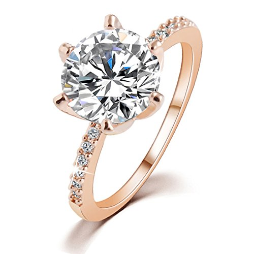 S.A.V.I Rose Gold And Silver Plated Crystal Wedding Ring For Women
