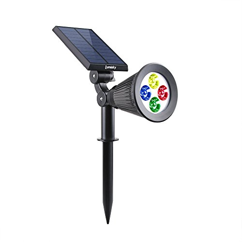 Lumisky SPIKY C34 Projecteur Spot Solaire 4 LED Extérieur Etanche Lumière 2-en-1, Plastique, Intégré, 1,5 W, Rgb, 29 x 9,5 x 34 cm