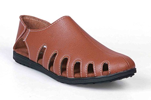Levanse New Tan Synthetic leather Crocs Casual Sandals for Men / Boys . (Size 8)  available at amazon for Rs.699