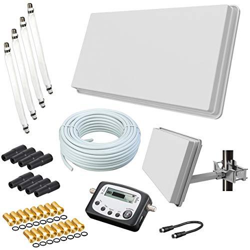 netshop 25 Set: Selfsat H30D4+ Flachantenne Quad + 50m Kabel + Fensterhalterung + SAT-Finder + 4 Fensterdurchführung + 16 F-Stecker + 8 Wetterschutztüllen (Full HD 4K UHD Sat Anlage für 4 Teilnehmer) (Z-finder)