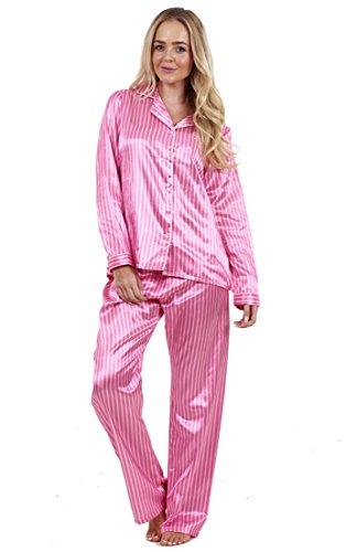 Edler bedruckter Satin-Pyjama für Damen Lang Nachtwäsche Seiden-Pyjama Rosa Mit Streifen