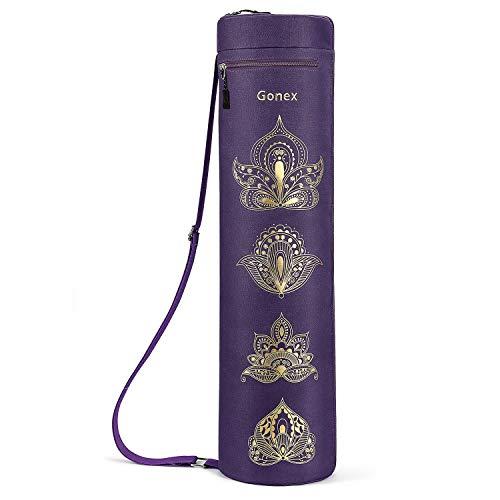 Gonex Borsa per Tappetino Yoga, Esercizio Completo con Cerniera Borsa per Tappetino Yoga Durevole Tessuto Oxford Resistente all'Acqua con 2 Tasche Cargo, Tracolla Regolabile Extra Larga (Viola)