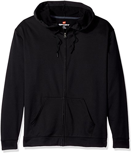 Hanes Sport Herren Performance Fleece Full Zip Hoodie - Schwarz - XX-Large -