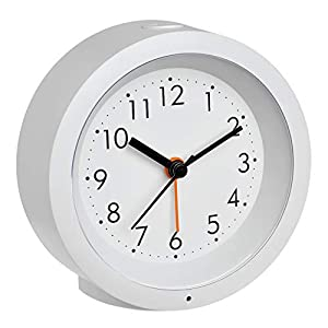TFA Dostmann Analoger Wecker, 60.1029.02, mit Sweep Uhrwerk, dezente Nachtbeleuchtung, weiß