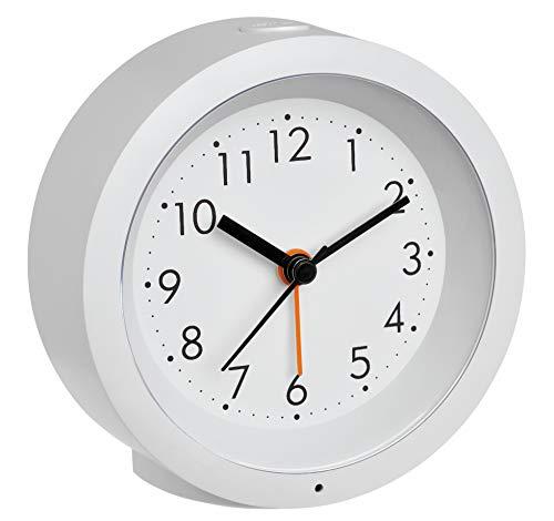 TFA Dostmann Genua 60.1029.02 Analoger Wecker mit Sweep Uhrwerk, Kunststoff, weiß, ((L) 105 x (B) 41 x (H) 105 mm
