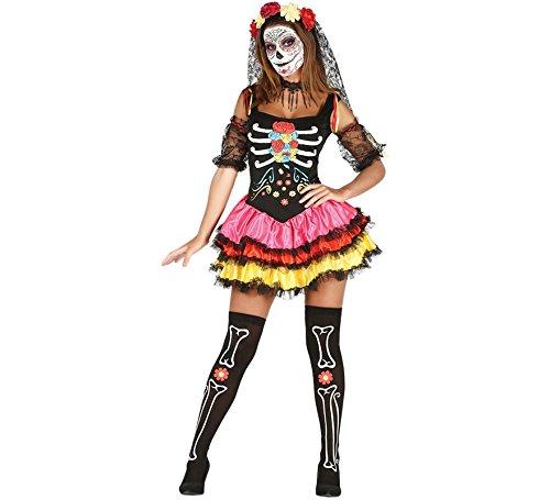 Tutu M&m Kostüm Grün Sexy - Mexikanisches Skelett Kleid für Damen Sexy Halloween Kostüm Mexikanerin Gr. S-L, Größe:M