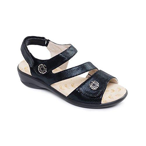 Padders Damen Mikrofaser-Sandale 'Vienna' | Breite E Passmaß Schwarz Reptile