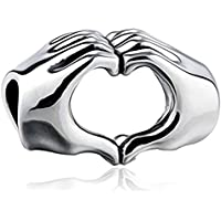 LS Designs Love Heart In Your Hands Sterling Silver 925 Charm Bracelet Bead