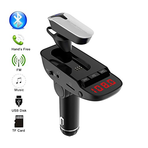 HKFV FM-Transmitter, Wireless Bluetooth Auto MP3 Player FM Transmitter Car Kit Freisprecheinrichtung Wireless BT FM-Transmitter LCD MP3-Player USB-Ladegerät