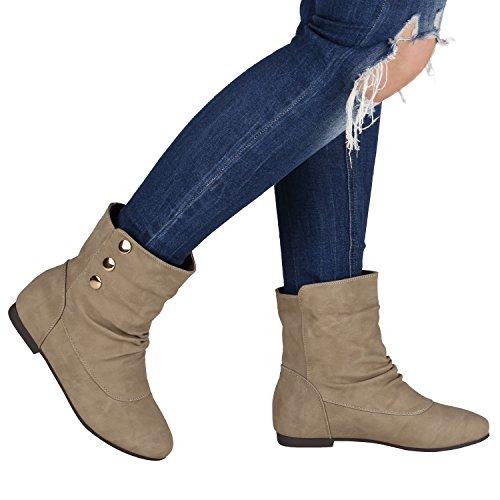 Schlupfstiefel Damen Stiefeletten Warm Gefüttert Stiefel Nieten Khaki